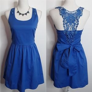 Solemio Blue Lacey Applique Dress EUC sz S